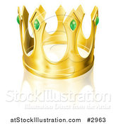 Vector Illustration of a Golden King Crown with Emeralds by AtStockIllustration