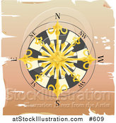 Vector Illustration of a Golden Nautical Compass Rose on Aged Parchment by AtStockIllustration