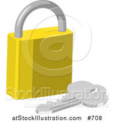 Vector Illustration of a Golden Padlock and Key by AtStockIllustration