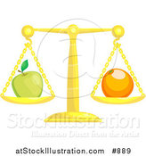 Vector Illustration of a Golden Scale Balanced with a Green Apple on the Left Side and an Orange on the Right Side, Symbolizing Opposites by AtStockIllustration