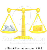 Vector Illustration of a Golden Scale Balanced with Chalk on the Left Side and a Wedge of Swiss Cheese on the Right Side by AtStockIllustration