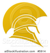 Vector Illustration of a Golden Spartan Trojan Helmet by AtStockIllustration