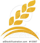 Vector Illustration of a Golden Wheat Grain and Arches Design by AtStockIllustration