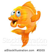 Vector Illustration of a Goldfish Gesturing to Follow by AtStockIllustration
