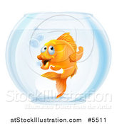 Vector Illustration of a Goldfish Gesturing to Follow in a Bowl by AtStockIllustration
