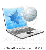 Vector Illustration of a Golf Ball Flying Through and Shattering a 3d Laptop Screen by AtStockIllustration