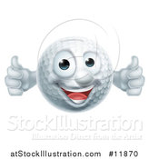 Vector Illustration of a Golf Ball Mascot Giving Two Thumbs up by AtStockIllustration