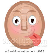 Vector Illustration of a Goofy Emoticon Sticking Tongue out - Tan Version by AtStockIllustration