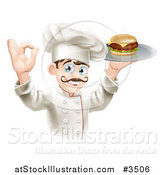 Vector Illustration of a Gourmet Chef Serving a Cheeseburger and Gesturing Ok by AtStockIllustration