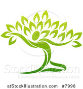 Vector Illustration of a Graceful Gradient Green Tree Man by AtStockIllustration