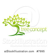 Vector Illustration of a Graceful Gradient Green Tree Man with Sample Text by AtStockIllustration