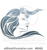 Vector Illustration of a Gradient Beatiful Woman's Face in Profile, with Long Hair Waving by AtStockIllustration