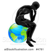 Vector Illustration of a Gradient Black Silhouetted Man in Thought and Sitting on Earth by AtStockIllustration