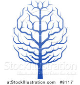 Vector Illustration of a Gradient Blue Brain Canopied Tree by AtStockIllustration