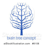 Vector Illustration of a Gradient Blue Brain Canopied Tree over Sample Text by AtStockIllustration