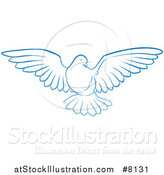 Vector Illustration of a Gradient Blue Dove Flying by AtStockIllustration