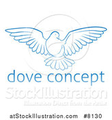 Vector Illustration of a Gradient Blue Dove Flying over Sample Text by AtStockIllustration