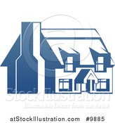 Vector Illustration of a Gradient Blue House with a Chimney by AtStockIllustration