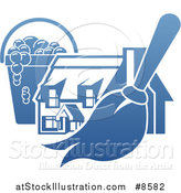 Vector Illustration of a Gradient Blue House with a Cleaning Bucket and Mop or Duster by AtStockIllustration