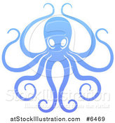 Vector Illustration of a Gradient Blue Octopus with Long Tentacles by AtStockIllustration
