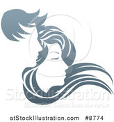 Vector Illustration of a Gradient Couple, with Long Hair Waving in the Wind by AtStockIllustration