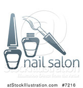 Vector Illustration of a Gradient Dark Blue Brush and Nail Polish Bottles over Text by AtStockIllustration
