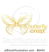 Vector Illustration of a Gradient Dark Yellow Butterfly with Sample Text by AtStockIllustration