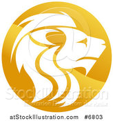 Vector Illustration of a Gradient Golden Male Lion Head Circle by AtStockIllustration