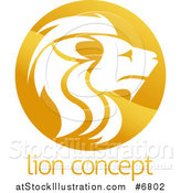 Vector Illustration of a Gradient Golden Male Lion Head Circle over Sample Text by AtStockIllustration