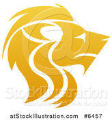 Vector Illustration of a Gradient Golden Male Lion Head in Profile by AtStockIllustration