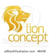 Vector Illustration of a Gradient Golden Male Lion Head in Profile over Sample Text by AtStockIllustration