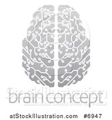 Vector Illustration of a Gradient Gray Circuit Board Artificial Intelligence Computer Chip Brain over Sample Text by AtStockIllustration