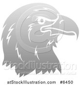 Vector Illustration of a Gradient Gray Eagle or Falcon Head in Profile by AtStockIllustration