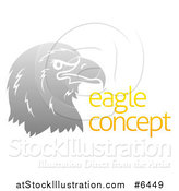 Vector Illustration of a Gradient Gray Eagle or Falcon Head in Profile by Sample Text by AtStockIllustration