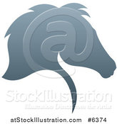 Vector Illustration of a Gradient Gray Horse Head Silhouette in Profile by AtStockIllustration