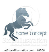 Vector Illustration of a Gradient Gray Rearing Horse and Sample Text by AtStockIllustration