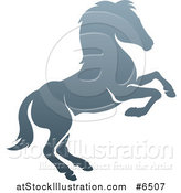 Vector Illustration of a Gradient Gray Rearing Horse by AtStockIllustration