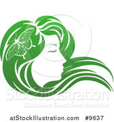 Vector Illustration of a Gradient Green Beatiful Woman's Face in Profile, with Long Hair and a Butterfly by AtStockIllustration
