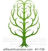 Vector Illustration of a Gradient Green Brain Tree by AtStockIllustration