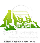 Vector Illustration of a Gradient Green Country Cottage House by AtStockIllustration