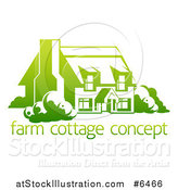 Vector Illustration of a Gradient Green Country Cottage House over Sample Text by AtStockIllustration