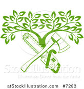 Vector Illustration of a Gradient Green Crossed Chainsaw and Axe and a Tree by AtStockIllustration