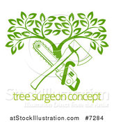 Vector Illustration of a Gradient Green Crossed Chainsaw and Axe and a Tree over Sample Text by AtStockIllustration