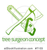 Vector Illustration of a Gradient Green Crossed Tree Surgeon Chainsaw and Axe over Text by AtStockIllustration