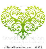 Vector Illustration of a Gradient Green Heart Shaped Tree with Roots and Leafy Branches by AtStockIllustration