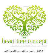 Vector Illustration of a Gradient Green Heart Shaped Tree with Roots and Leafy Branches over Sample Text by AtStockIllustration