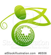 Vector Illustration of a Gradient Green Man Golfing over a Ball by AtStockIllustration