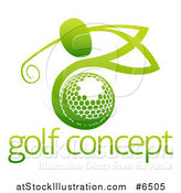 Vector Illustration of a Gradient Green Man Golfing over a Ball with Sample Text by AtStockIllustration