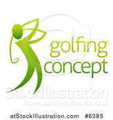 Vector Illustration of a Gradient Green Man Golfing with Sample Text by AtStockIllustration