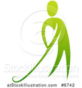 Vector Illustration of a Gradient Green Man Putting a Golf Club by AtStockIllustration